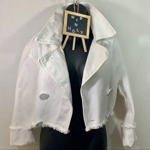 RALPH LAUREN WHITE CROPPED JEAN JACKET SIZE 6